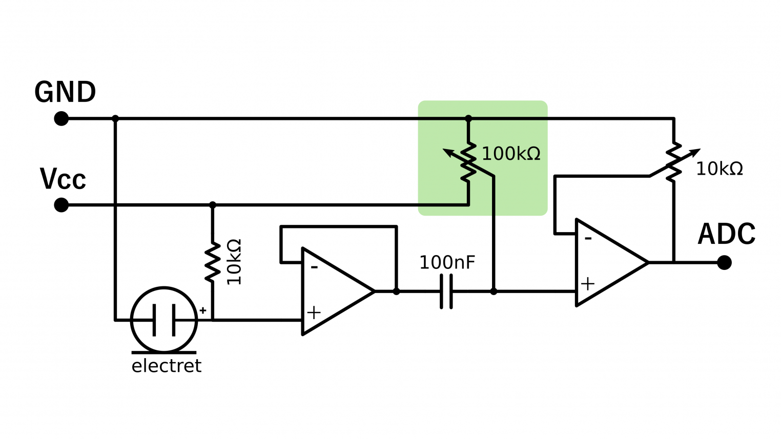 Electret Microphone Amplifier Bitlunis Lab Voltage Circuit Using Op Amp This Controlled Dc Signal Is Then Amplified A Simple Non Inverting The Second And Potentiometer